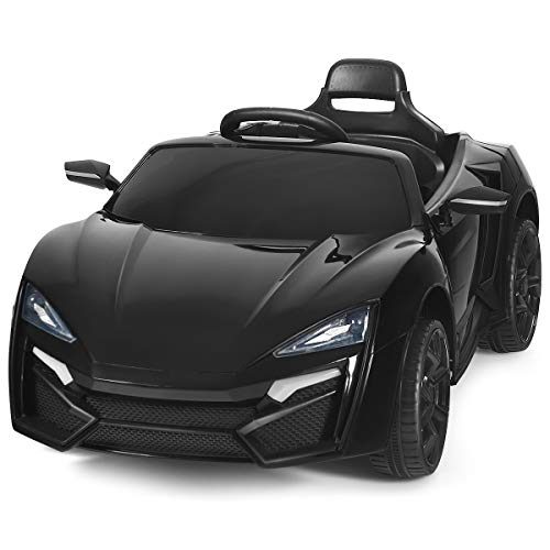 Costzon Ride on Car, 12V Battery Powered Electric Vehicle w/Manual & 2.4G Remote Control Modes, LED Lights, Horn, Music, MP3, USB, TF, 3 Speeds, Spring Suspension, Ride on Toy for Boys Girls (Black)
