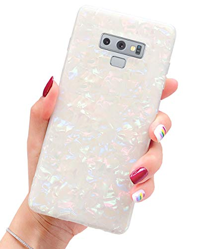 J.west Case for Galaxy Note 9 Luxury Sparkle Bling Translucent Macaron Color Print Soft Silicone Phone Case Cover for Girls Women Slim Design Pattern Protective Case for Samsung Galaxy Note 9 6.4 inch