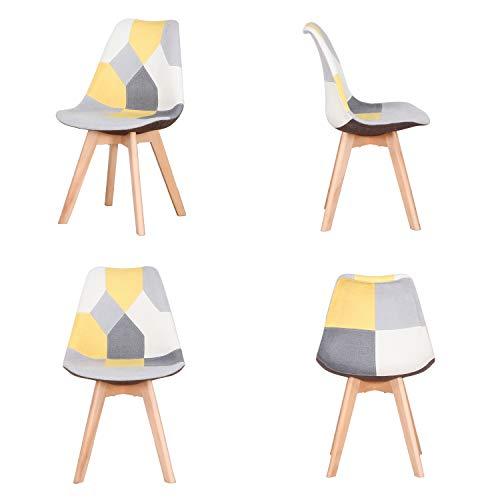 INJOY LIFE - Juego de 4 sillas de comedor modernas con patas de madera maciza y asiento acolchado suave para cocina, sala de estar, oficina, color amarillo