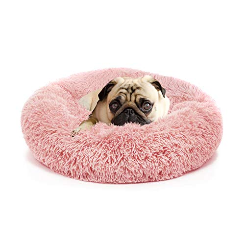 nononfish Pink Dog Bed with Blanket Attached Durable Round Dog Pillow Bed Nest, Snooze Sleeping Pet Cushion for Cats Small Medium Dogs…