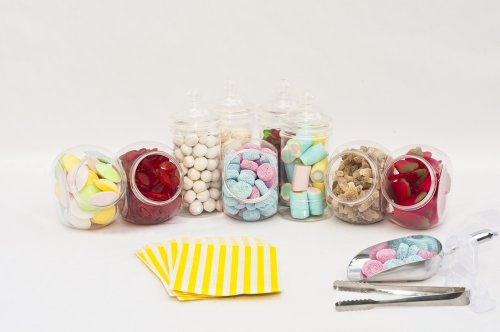 Ritchies Kit de présentation de bonbons pour buffet de mariage avec 10 bocaux en plastique, 5 pinces et 100 pochettes à rayures