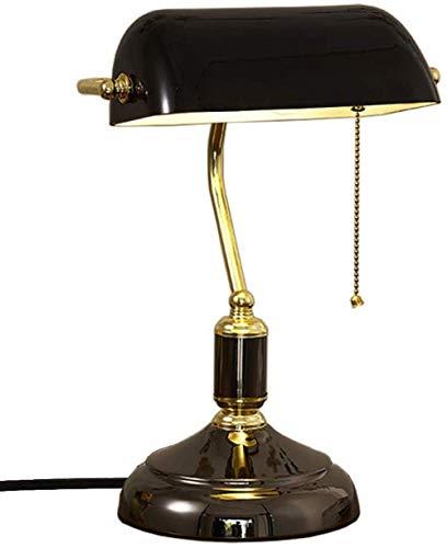 Lámpara retro elegante lámpara de mesa de banqueros lámpara de escritorio tradicional con interruptor de cadena de tracción lámpara de mesa para dormitorio