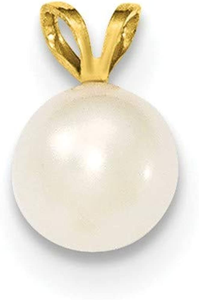 14k Yellow Gold 8mm Round White Freshwater Cultured Pearl Pendant Charm Necklace Fine Jewelry For Women Gifts For Her