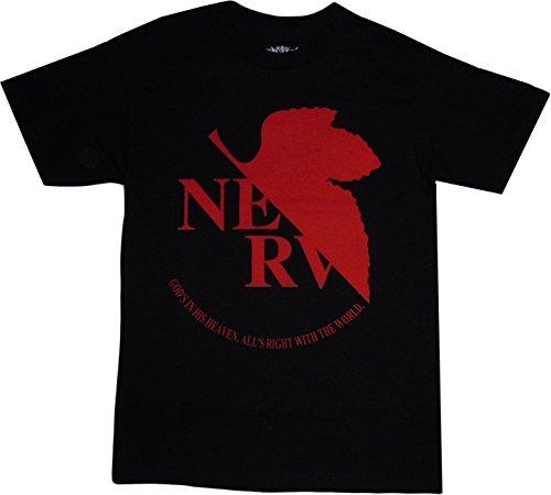 Neon Genesis Evangelion: NERV Logo Black T Shirt, Adult X-Large