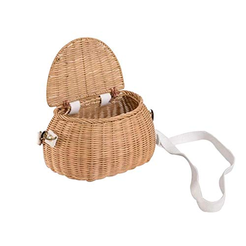 HUVE Children Bicycle Baskets Wicker Bike Basket Kid's Front Handlebar Bike Basket Handmade Rattan Backpack Basket Rattan Toy With Lid & Shoulder Strap