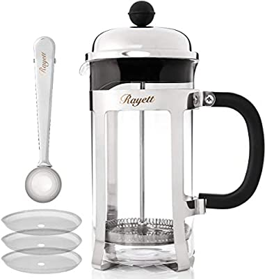 Rayett French Press Coffee Maker, Cup Stainless Steel Cafetiere with 3 Additional Coffee Filters & Measuring Spoon with Sealing Clip (1000 ML)