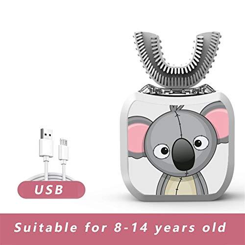 LBWNB USB Recargable bebé en Forma de U ultrasónico Cepillo de Dientes, Cepillo de Dientes eléctrico for niños (Color : Koala, Size : 8-14years Old)