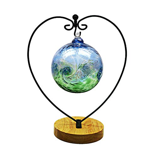 Awesomes Air Plant Stand/Flower Pot Stand Holder Iron Pothook Stand for Hanging Glass Terrarium (Heart Shape with Round Base)