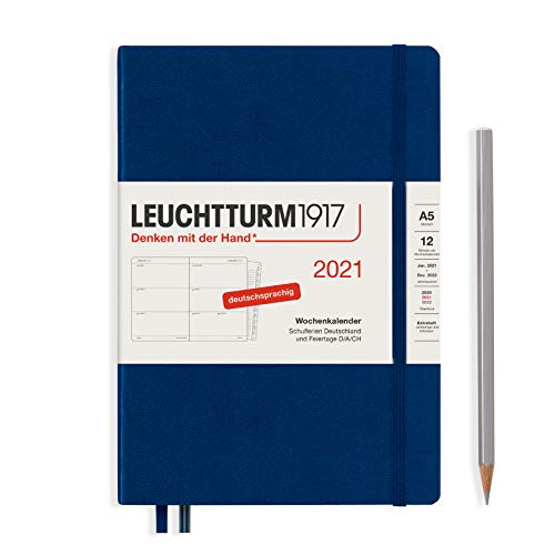 LEUCHTTURM1917 Wochenkalender 2021 Hardcover Medium (A5), 12 Monate, Marine, Deutsch