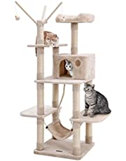 FEANDREA キャットタワー 猫タワー 爪とぎ 麻紐 ハンモック 猫が喜ぶ機能満載 約154cm