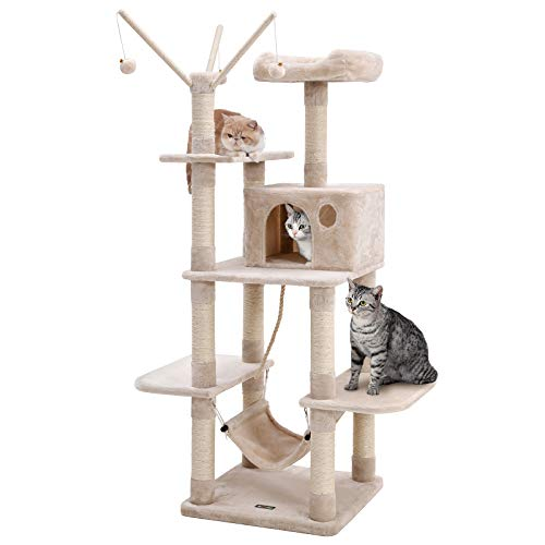 FEANDREA キャットタワー 猫タワー 直径7.1cm支柱12本 頑丈耐久 段差あり 天然サイザル麻 匂いなし NPCT86M