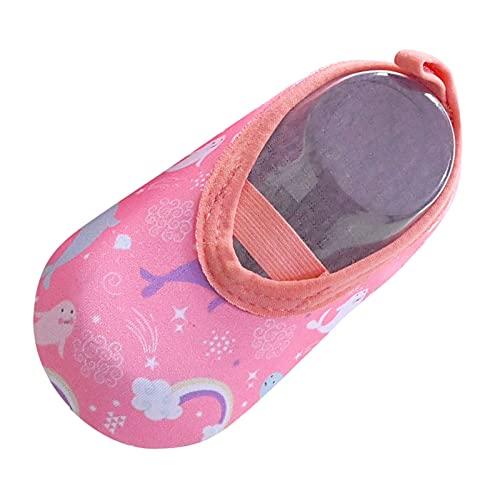 Calcetines suaves para el suelo, zapatos para aprender a andar, para niños y niñas, antideslizantes, para interiores, bebés, con dinosaurios, elásticos, calcetines, Rosa., 23