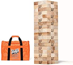 """The biggest authentic hardwood Jenga game ever sold! At setup, starts at 26 inches high, and can stack to over 5 feet high in play! Anticipation Builds to a Crashing Climax! 54 precision-crafted premium hardwood 7.15"""" X 2.38"""" X 1.43"""" blocks, Each one..."""