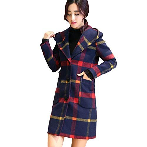 Adelina 2019 Damesmantel winterlang herfst elegant damesjack outwear wollen mantel modieuze completi lange mouwen met capuchon plaid knop met tas