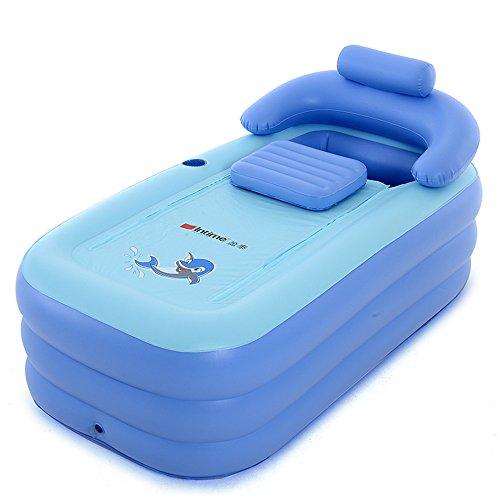 Intime Faltbares Schlauchboot Dick Warm Erwachsene Badewanne Kinder Aufblasbares Becken, Blau
