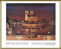 ポスター ミッシェル ドラクロア ノートルダム寺院 額装品 アルミ製ハイグレードフレーム(ゴールド)