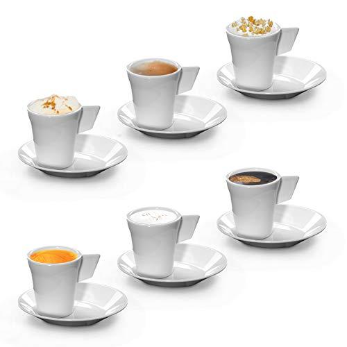 RB Espresso-Kaffeetasse mit Untertasse Weiß Premium-Kunststoff Unzerbrechlich Wiederverwendbar 7cl, 6 Stück
