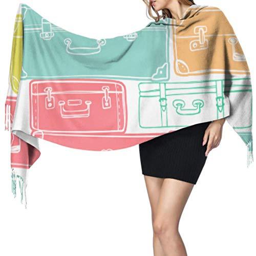 Fashion Colorful Travel Luggage Bag Cheap Scarf Scarf Girls Fringed Scarfs For Women 77x27inch/196x68cm Large Soft Pashmina Extra Warm