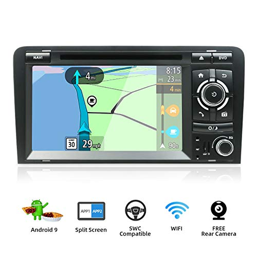 Autoradio Android 9.0-2 Din Estéreo de navegación GPS Compatible Para Audi A3 2003-2011 |Gratis Cámara y Canbus |7 pulgada 2GB/32GB |SD |USB |DAB+ Soporte |3G/4G |WLAN |Bluetooth|MirrorLink|Volante