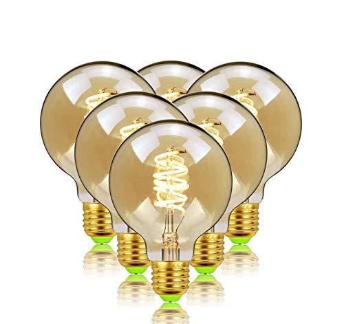 HHGM Bulbos LED Edison Retro Bombilla, LED G80 Barra de luz Suave Regulable LED E27 Puerto de Tornillo 220V 110V 4W [Clase de energía A +]