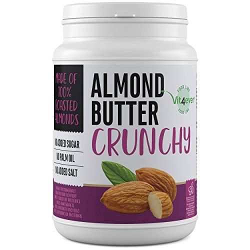 Mandelbutter Crunchy - 1kg natürliche Almond Butter Ohne Zusätze - Proteinquelle - Mandelmus ohne Zusätze von Zucker, Salz, Öl oder Palmfett - Vegan