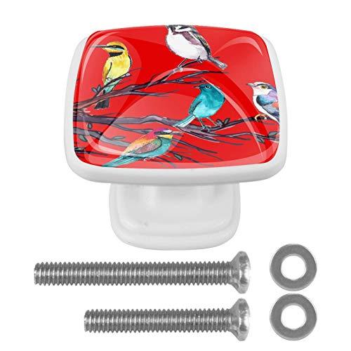 Tirador de cajón con tornillos Pájaro rojo Perillas de gabinete cuadradas de bricolaje, vidrio para el hogar, armario, cocina, tocador y armario 4 piezas 3x2.1x2 cm