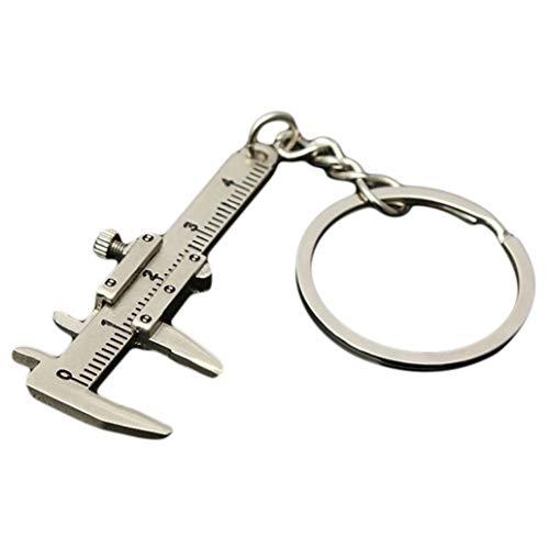 KISSFRIDAY Silber Mini-Schlüsselhalter Tag Beweglicher Messschieber Lineal Schiebe Schlüsselanhänger Gadgets