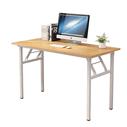 sogesfurniture Mesa Escritorio Plegable,120x60 cm Mesa de Ordenador Escritorio de Computadora Mesa de Estudio Mesa de Trabajo Plegable para Hogar Oficina, Teca&Blanco BHEU-LP-AC5YW-120