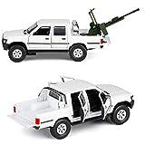 Simular Carro de ejército de coches de juguete blindada, 1: 32, de sonido y luz LED para los muchachos niños pequeños regalos de cumpleaños de Navidad, Diecast metal modelo de vehículo militar,Blanco