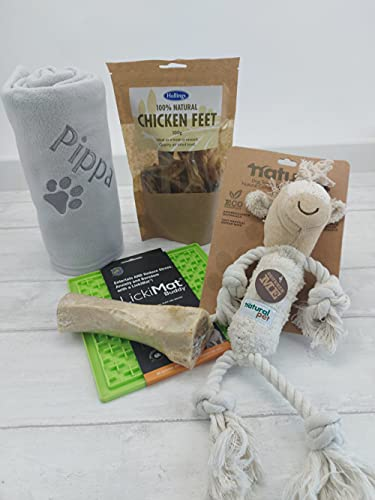 CB Crumbleberry Ltd Dog Hamper with a Personalised Dog Blanket and Natural Dog Gifts, Treats and Toy. The Ultimate Dog Gift Set. Custom Premium Dog Gift. Dog Birthday Hamper.(Dog Gift Box Hamper)
