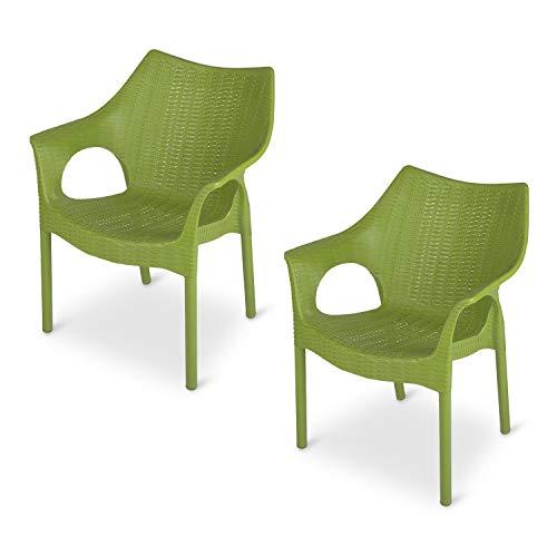 Supreme Cambridge Plastic Chairs for Home, Outdoor & Garden (Set of 2, Mehandi Green)
