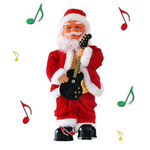 Simplenes Santa Playing Guitar Santa Claus Christmas Toy Doll Battery Operated Electric Animated Musical Moving Figure Creative Cool Christmas Plush Doll Toy Music Box Xmas Gift for Kids