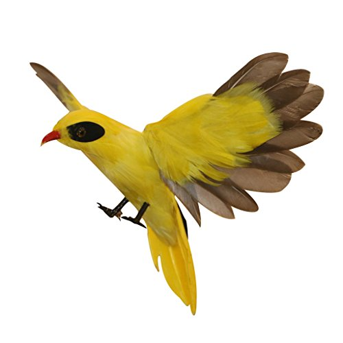 Lifelike Artificial Feathered Birds Animal Tree Decorations Craft Gift Ornaments 15 Types Select Roadrunner, Oriole, Parrot, Crow, Magpie, Goose, Hummingbird, Cormorant - Oriole Flying, as described