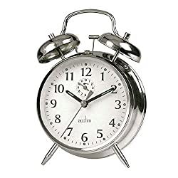 Traditional double bell wind up alarm clock Spring wound Large, easy to read face Traditional double bell wind up alarm clock Luminous hands and hour dots Spring wound Large easy to read face Metal case with chrome finish, second hand alarm feet and ...