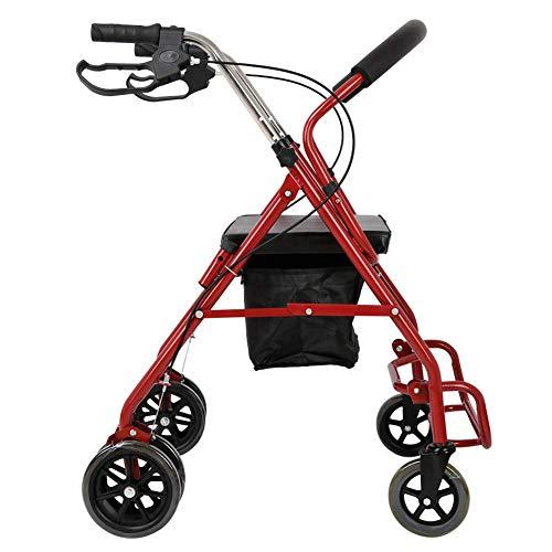 Z-SEAT Ultraleichter Rollator Walker mit gepolstertem Sitz und klappbarem Rollstuhl für Rückenlehne mit feststellbaren Bremsen Rot