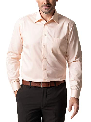 Walbusch Herren Hemd Bügelfrei Kragen ohne Knopf einfarbig Apricot 43 - Langarm