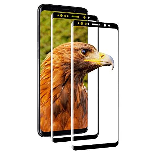 [2 pièces] Verre Trempé pour Samsung Galaxy S9 Plus, 3D couverture complète, 9H dureté, anti-bulles, HD clair, anti-traces de doigts, Verre Trempé pour Samsung S9 Plus – (noir)