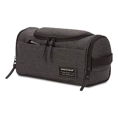 SWISSGEAR Hanging Toiletry Bag | Premium Men's and Women's Travel Dopp Kit | Travel Organizer for Bathroom, Gym, and Shower Toiletries – Heather Grey