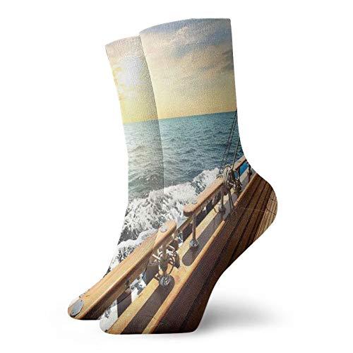 Calcetines suaves de longitud media pantorrilla, velero yate en el mar ondulado al atardecer, imagen de viaje, aventura relajante, vacaciones, calcetines para mujeres y hombres, ideales para correr