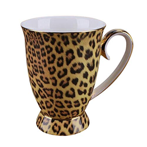 YBK Tech Novelty Mug Bone China Porcelain Tea Cup Coffee Mug for Home Kitchen Office (Leopard print)