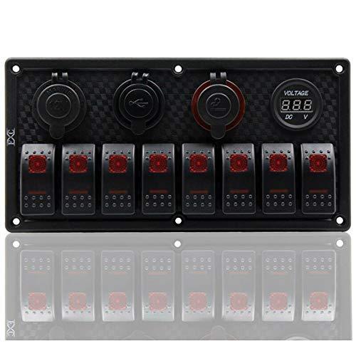 XXYHYQHJD Poner el Panel Barco 8 Gang, Ligero Rojo del LED del Coche RV Rocker Interruptor automático Dual USB Pantalla Digital Conmutadores Relés