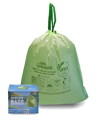 UNNI 100% Compostable Drawstring Trash Bags, 1.2 Gallon, 4.5 Liter, 100 Count, Food Scrap Small Kitchen Waste Bags, US BPI and Europe OK Compost Certified, Earth Friendly Highest ASTM D6400