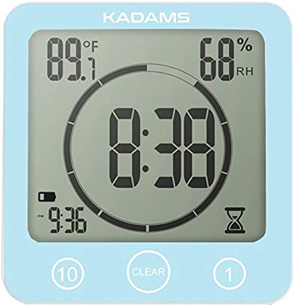 KADAMS Digital Bathroom Shower Kitchen Wall Clock Timer With Alarm Waterproof For Water Spray Touch Screen Timer Temperature Humidity Display With Suction Cup Hanging Hole Blue