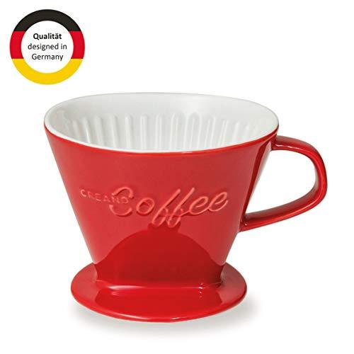 Creano Porzellan Kaffeefilter, Filter Größe 4 (Rot) In 6 Farben erhältlich