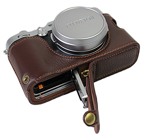 Bottom Opening Version Protective Real Leather Half Camera Case Bag for Fujifilm x100f with Hand Strap Dark Brown