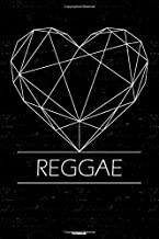 Reggae Notebook: Reggae Geometric Heart Music Journal 6 x 9 inch 120 lined pages gift