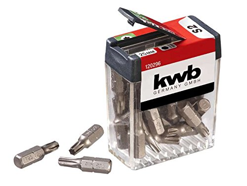 KWB 25X puntas T25dispensador de caja 120296(25mm, C 6.3, ISO 1173, ventaja Pack)