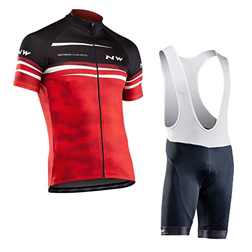 OHGGB Outdoor Sports Cycling Jersey Suits Summer Short Sleeve and 9D Gel Padded Bib Shorts Breathable and Quick-Drying Bicycle Costume,A,M