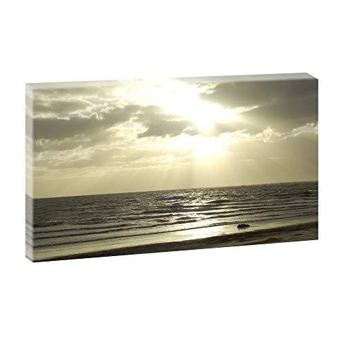 Bild auf Leinwand mit Landschaftsmotiv Sonnenuntergang am Nordseestrand | 135 x 80 cm, Farbig, Wandbild, Leinwandbild mit Kunstdruck, Nordseebild mit Strandmotiv auf...