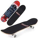 VOMI Patineta Niña, Completa Skateboard Principiantes 79 x 20 cm 7 Capas Monopatín de Arce Madera con Rodamientos ABEC-9, Tabla Doble Patada Longboards para Niños Adolescentes Adulto, 5 Colores,B